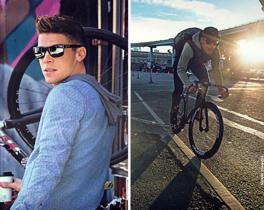 modello con occhiali da sole in bicicletta