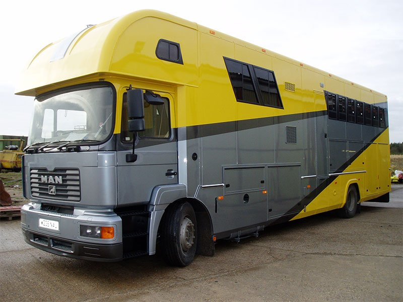 yellow and grey truck after coating