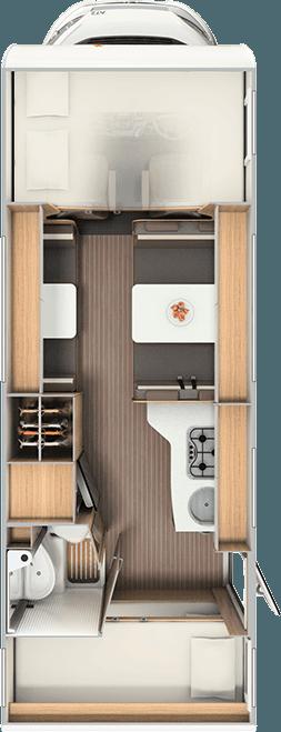 6 Berth Motorhome Rental Ireland - Interior Layout