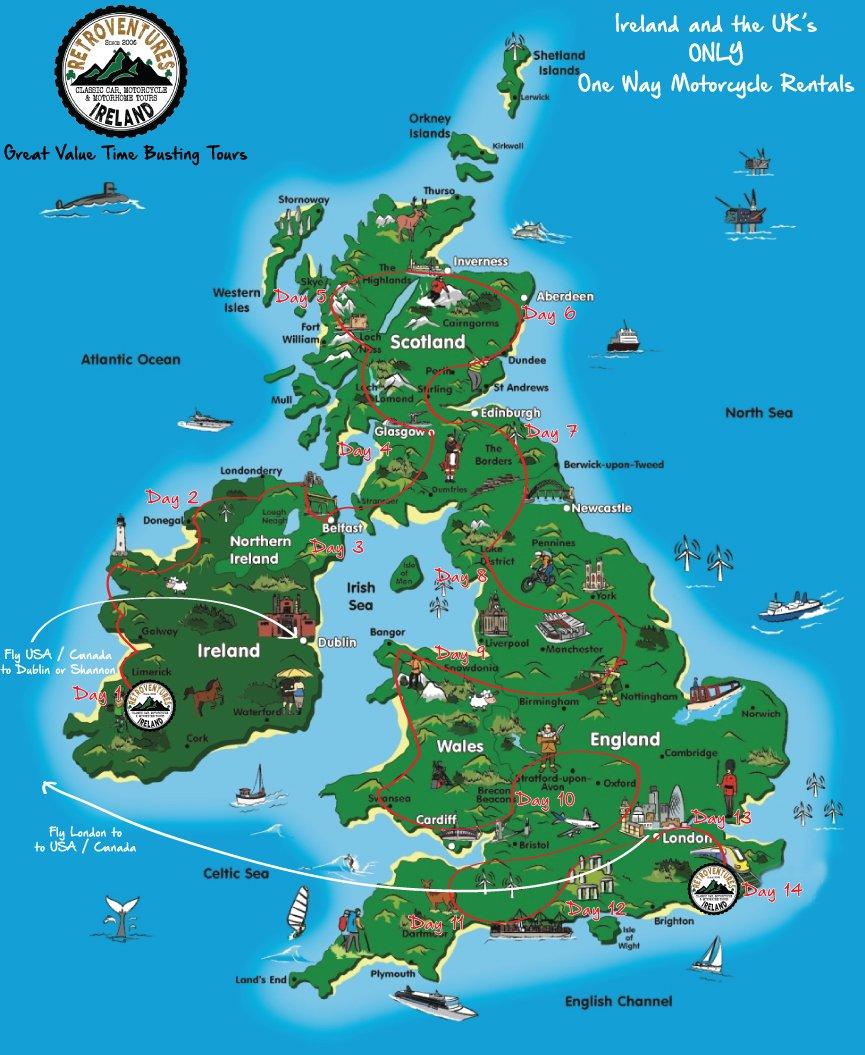Ireland UK One Way Motorcycle Rentals