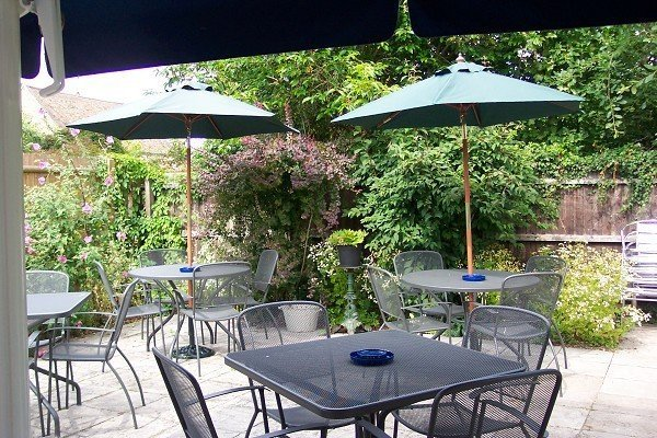 Our beer garden with furniture