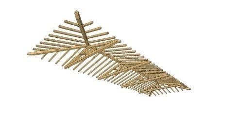un disegno di un tetto in legno