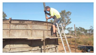 One of our water tanks being built in Perth