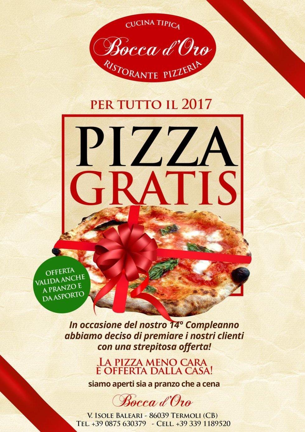 Pizza gratis per tutto il 2017... vedi i dettagli