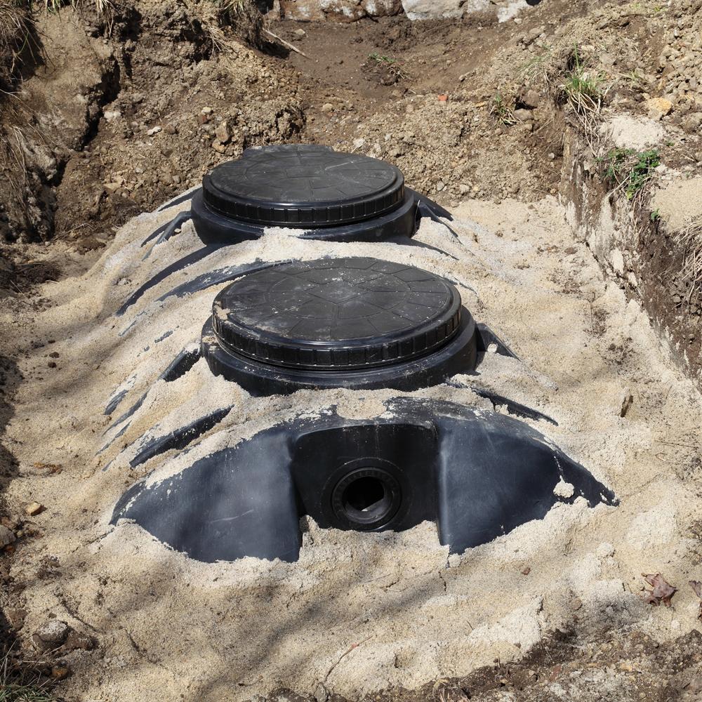 Septic tanks dug into the ground