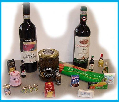 miniatura prodotti da bere e mangiare