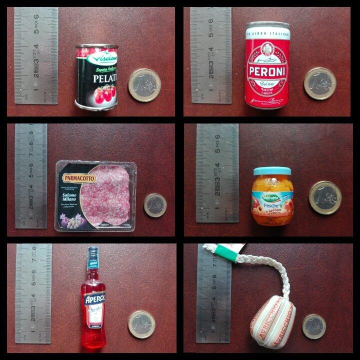 minuatura pomodori pelati, birra peroni, salame parmacotto,pesche sciroppate , bottiglia di aperol  e formaggio auricchio
