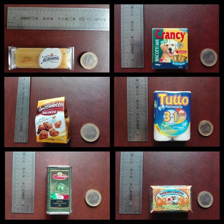 miniatura con spaghetti Molisana,biscotti per cani, biscotti con gocce di cioccolato,scottex, olio e uova