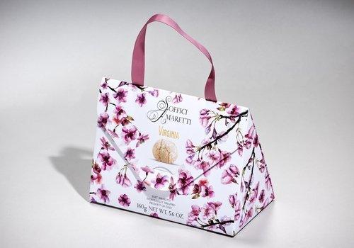 borsa bianca con fiori di ciliegio dipinti
