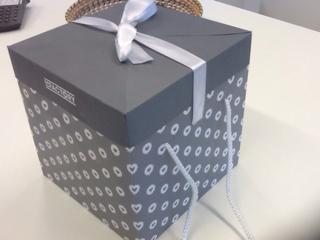 scatola grigia con pois bianchi