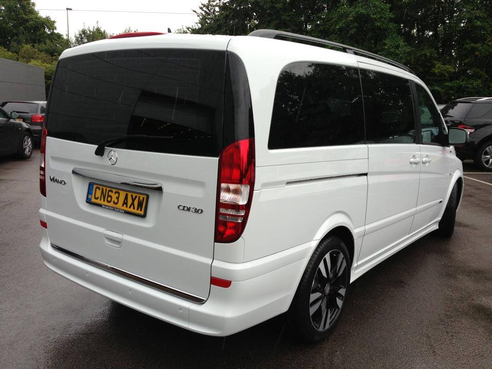 a white van with tinting windows