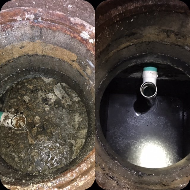 Before and after of drain maintenance from Bio Care of Hawaii in Honolulu, HI