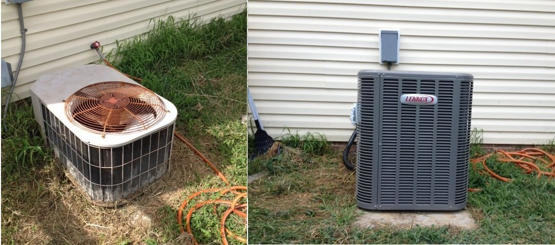 Outside AC unit before & after AC repair service in Greensboro, NC