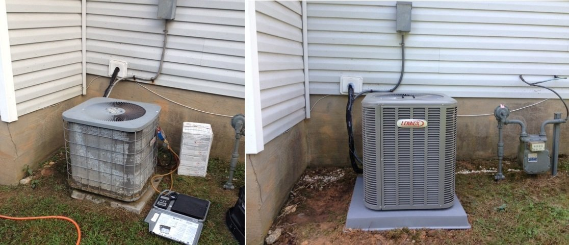 Outside air conditioning unit before & after AC repair services in Charlotte, NC