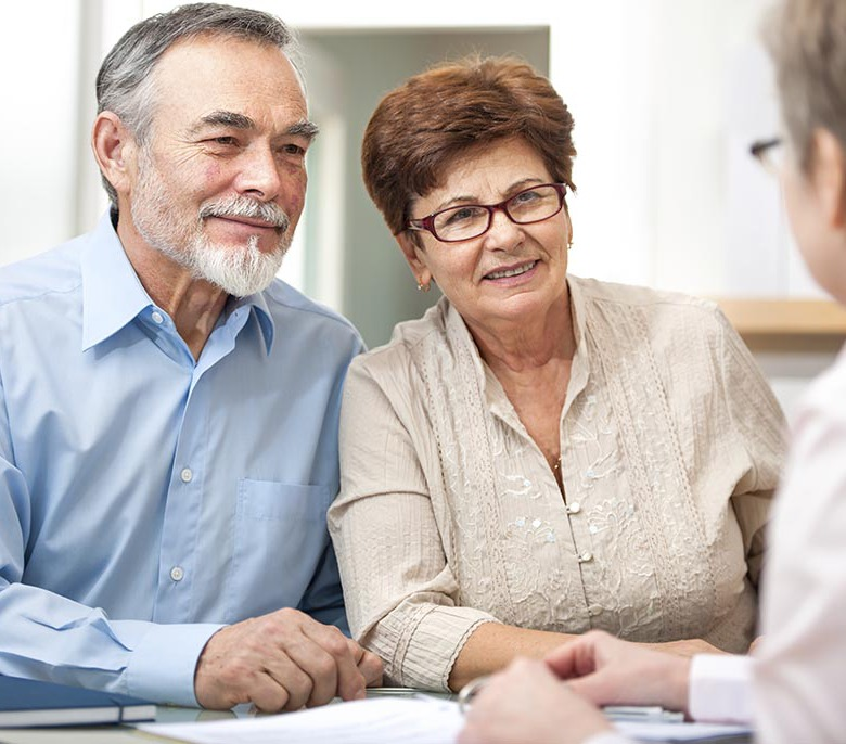 Elderly couple discusses health insurance in High Point, NC