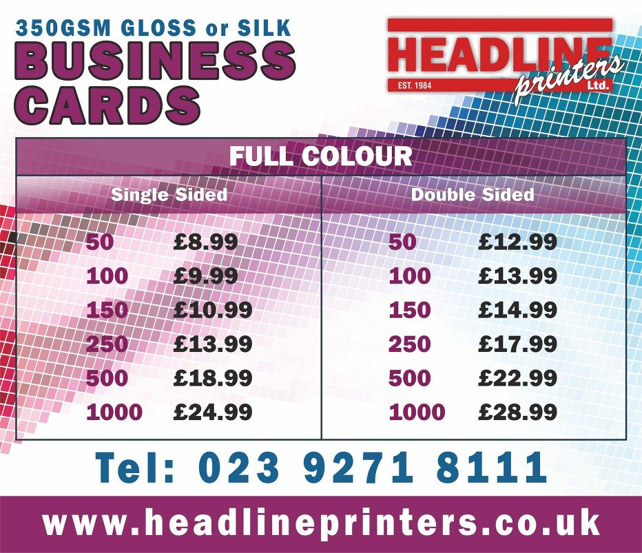 FULL COLOUR business card rates
