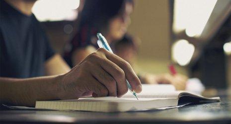 a man writing