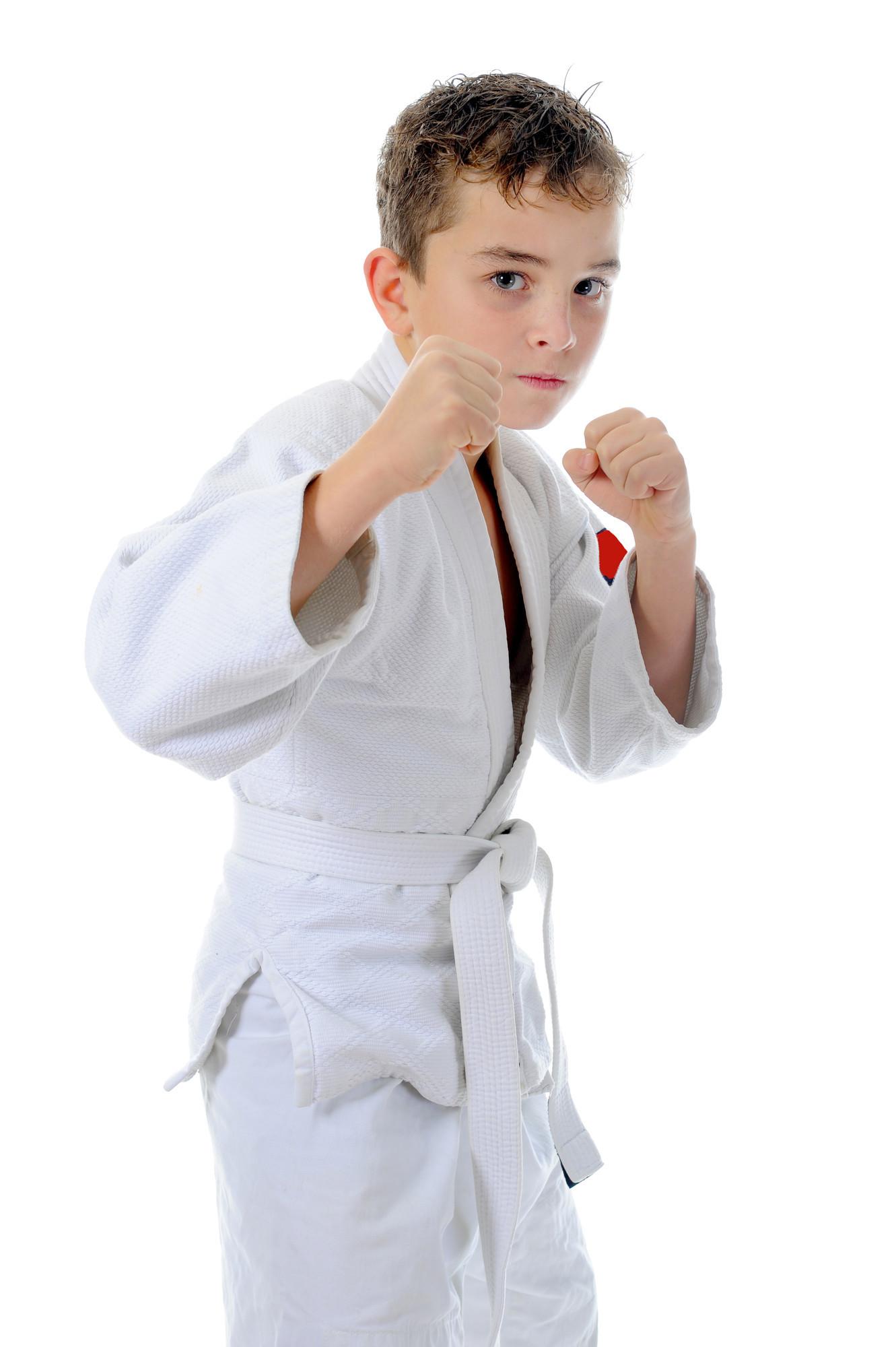 Boy learning a Karate