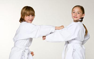 Girls practising karate