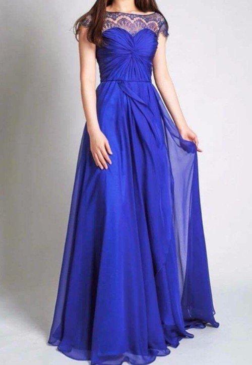 abito lungo da cerimonia blu