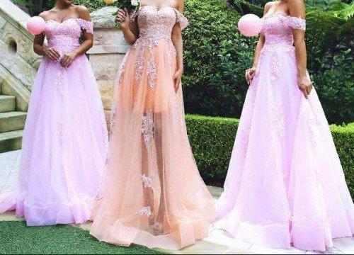 abiti da damigella lunghi in differenti tonalità di rosa