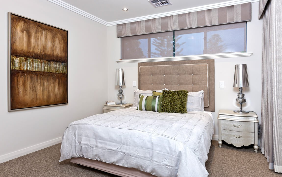 blinds above bed
