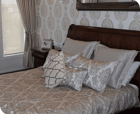 bedspread with matching wall and pillows