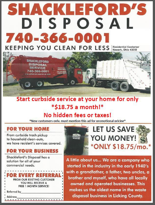 Disposal service and truck in Newark, OH