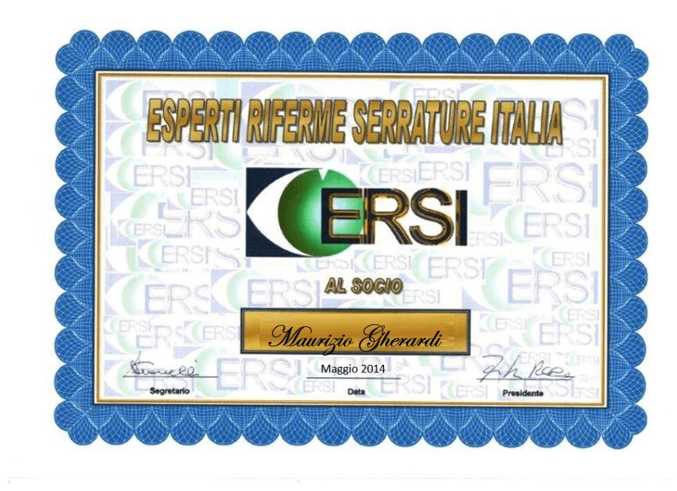 certificazione ERSI MAURIZIO GHERARDI