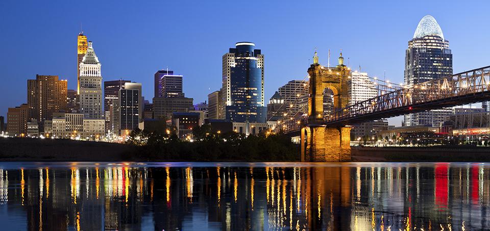 Cincinnati Ohio city scape at night