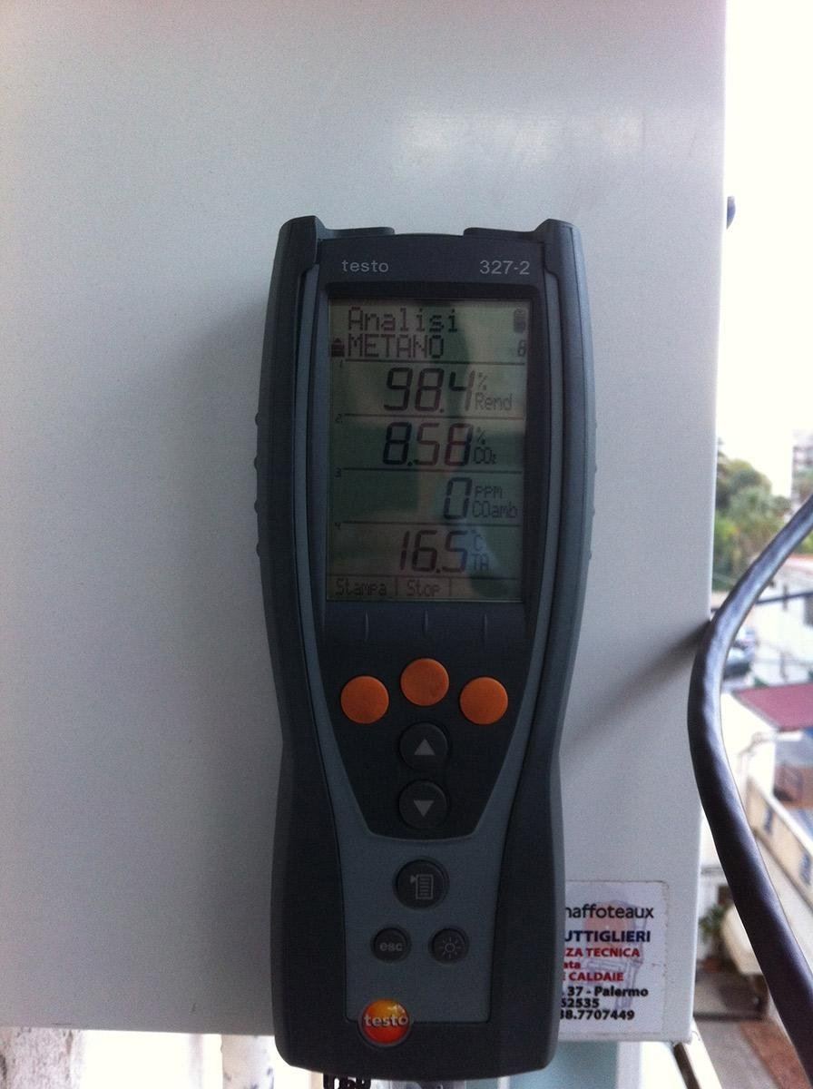analisi combustione caldaia