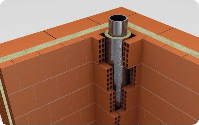 sezione canna fumaria tra mattoni termoisolanti