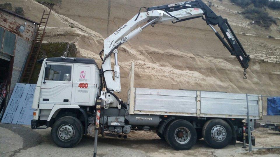 camion con gru lavora in un cantiere edile