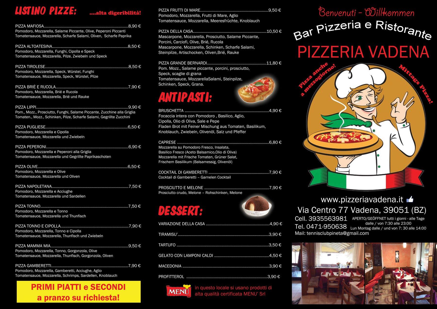 Menù del ristorante pizzeria