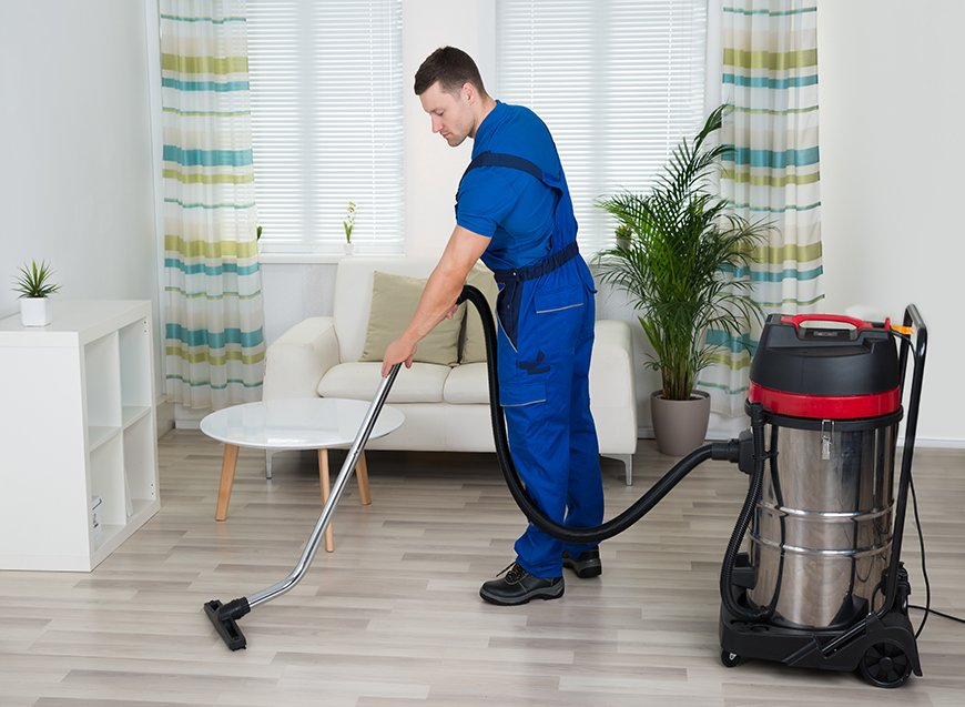 Room service person cleaning the room
