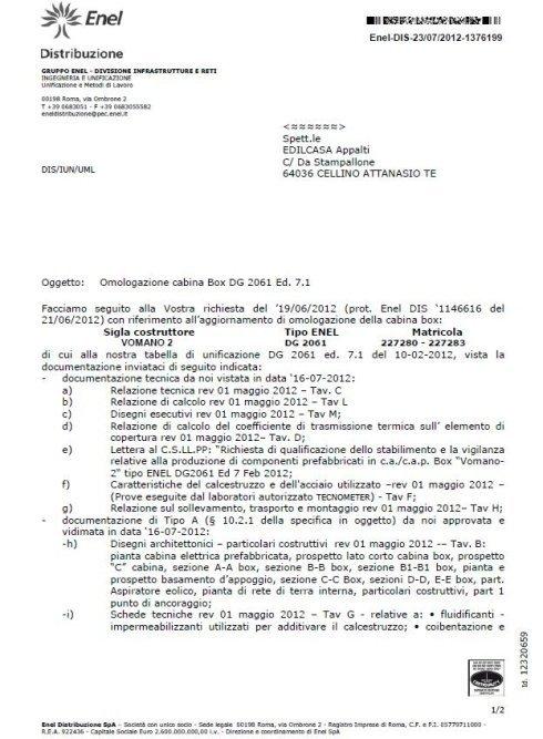 Lettera Omologazione Enel DG2061 ed. 7.1