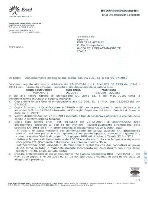 Lettera Omologazione Enel DG2061 ed. 6