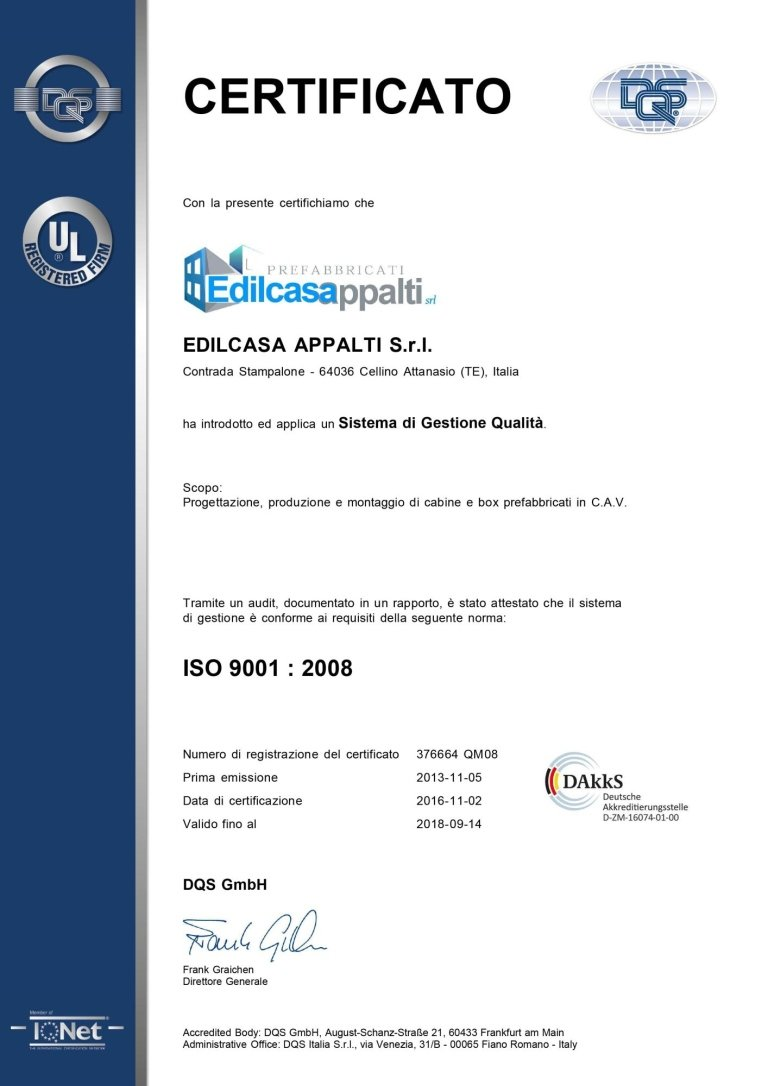 Certificato DQS Certificato sistema gestione qualità