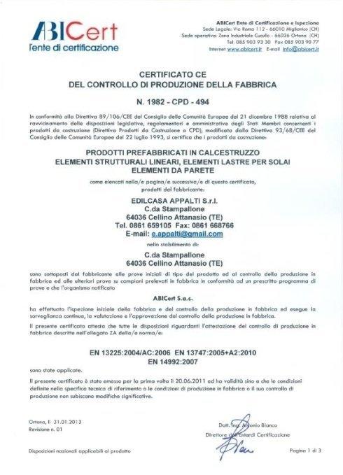 ABICERT Certificato ce del controllo di produzione in fabbrica