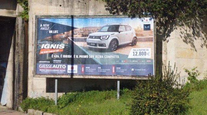 Manifesto pubblicitario Strada 9 dir. Piazzetta Predda Niedda