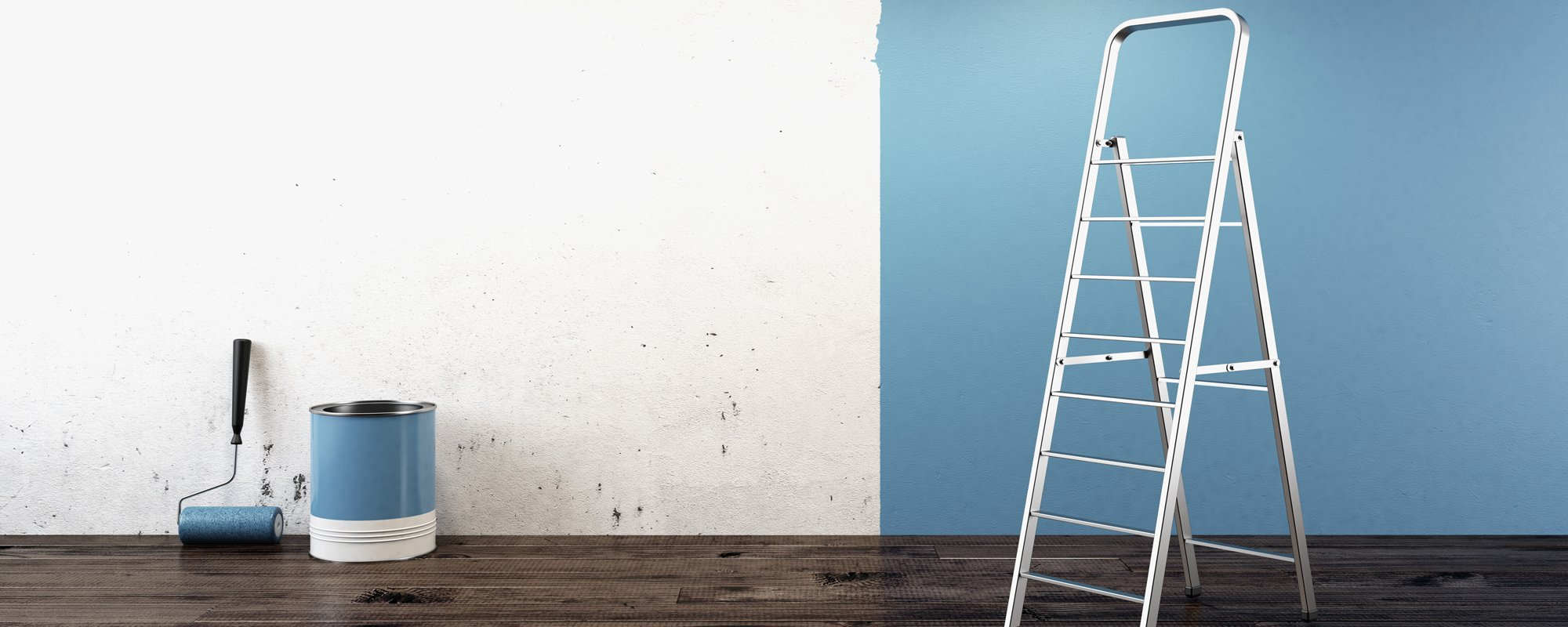 Wall being painted by expert