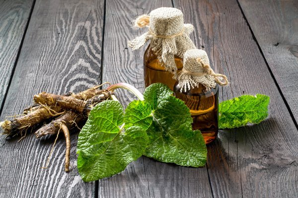 radici e le foglie di bardana su sfondo legno