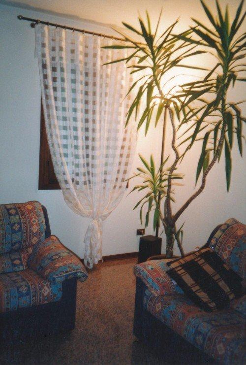 Sala con due sofá, una pianta e una finestra di legno con tendina bianca dipinti