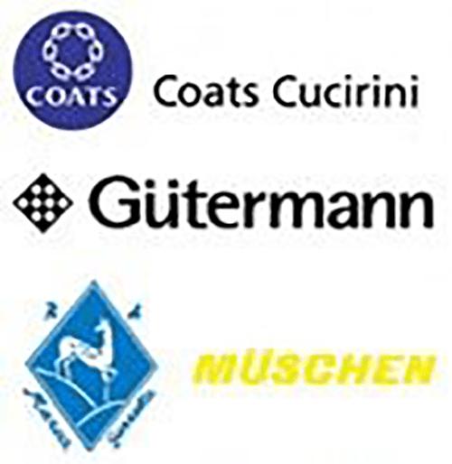 dei loghi  coats Cucirini, Gutermann e Muschen