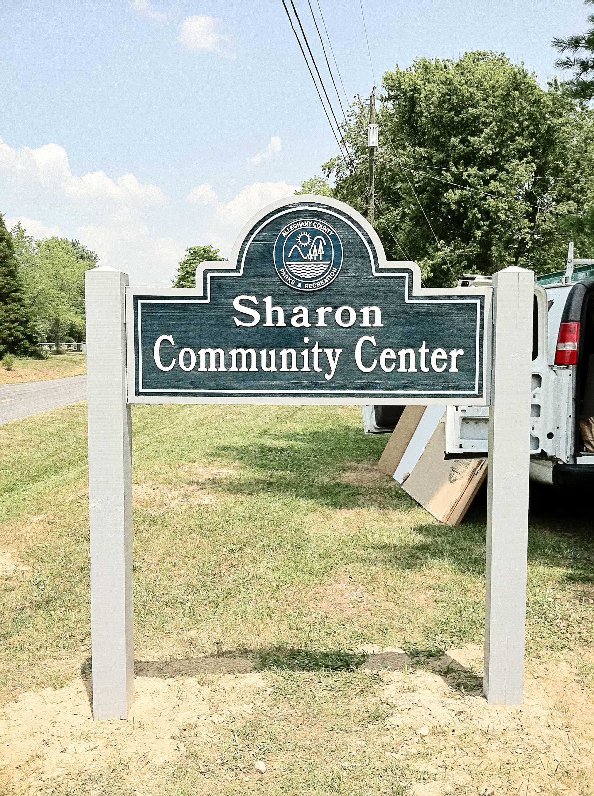 Logo of a community center placed on a roadside in Covington, VA