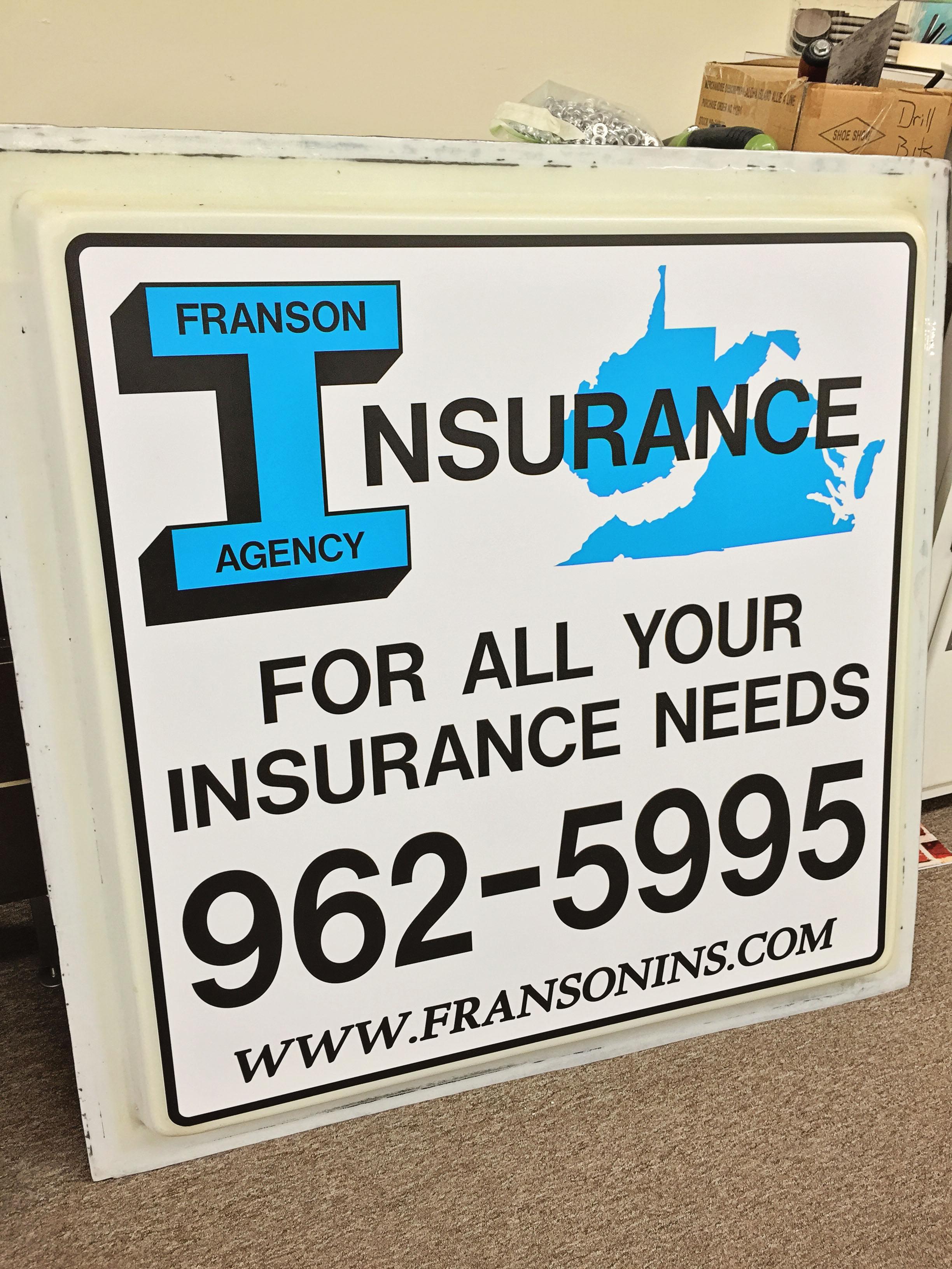 Insurance custom-made sign in Covington, VA