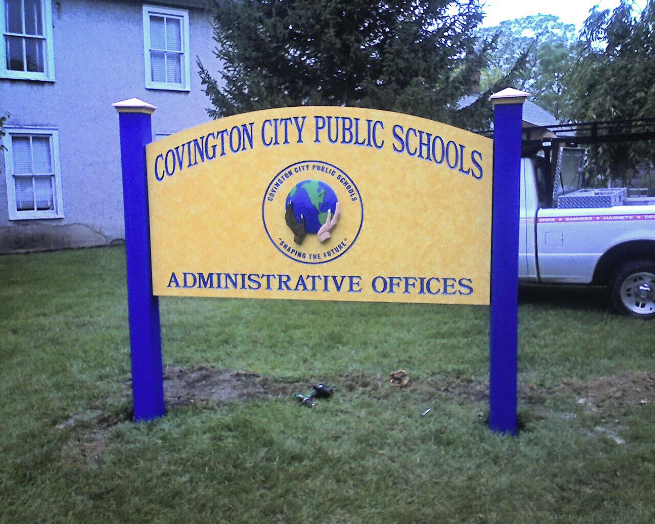 Custom made sign of a public school in Covington, VA