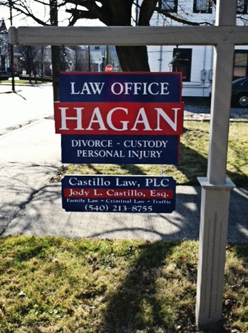 Custom-made sign of a law office in Covington, VA