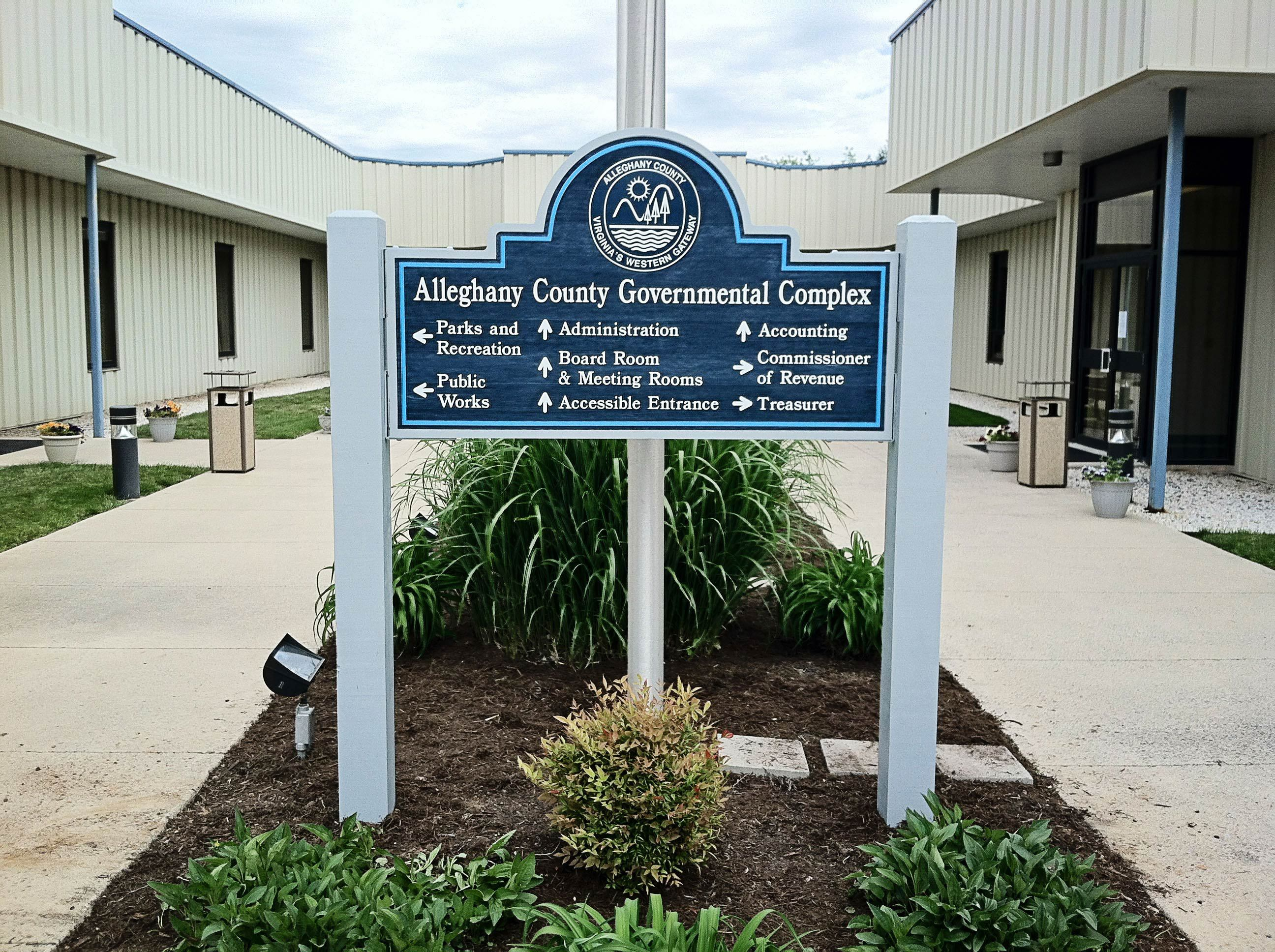 Custom-made sign of a governmental complex in Covington, VA