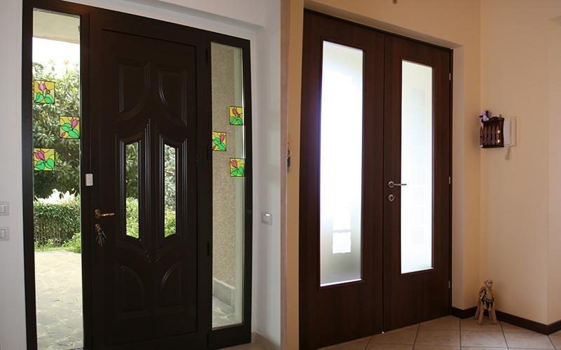 porte ingresso in legno e vetro